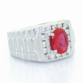 Handsome Men's 14K White Gold Oval Ruby Round Diamond Ring
