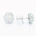 Beautiful Ladies 14K White Gold Round Diamond Cluster Stud Earring Pair