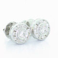 Spectacular Ladies 14K White Gold Round Diamond Stud Earrings