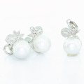 Elegant Ladies 14K White Gold Pearl Diamond Ring Pendant Earring Jewelry Set