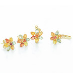 Stunning 14K Yellow Gold Citrine Garnet Amethyst Ring Earrings Pendant Set