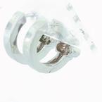 Beautiful Ladies 14K White Gold Round Diamond Flower Huggie Hoop Earring Pair