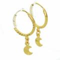 Dazzling Ladies 21K Yellow Gold Dangling Moon Hoop Earring Set