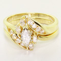 Dazzling Ladies Vintage 14K Yellow Gold Diamond Engagement Ring Wedding Band Set
