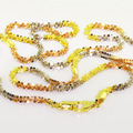 Unique Ladies 14KTri-Colored Yellow Pink White Gold Twisted Necklace Jewelry