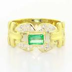 Breathtaking Ladies 14K Yellow Gold Emerald Diamond Right Hand Ring Jewelry