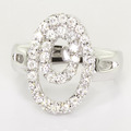 Spectacular Ladies 14K White Gold Diamond Double Oval Ring Earring Jewelry Set