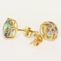 Spectacular Ladies 14K Yellow Gold Synthetic Alexandrite Stud Earrings