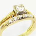 Charming Ladies Vintage 14K Yellow Gold Diamond Engagement Wedding Ring Set