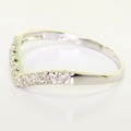 Brilliant Ladies 18K White Gold Round Diamond V Shaped Wedding Band Ring