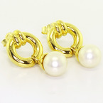 Lovely Vintage 18K Yellow Gold Pearl Dangle Earrings