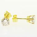 Beautiful Ladies 14K Yellow Gold Round Champagne Diamond Stud Earrings