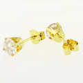 Beautiful Ladies 14K Yellow Gold Round Champagne Diamond Stud Earrings