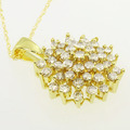 Breathtaking Ladies Vintage 10K Yellow Gold Round Diamond Star Pendant Necklace