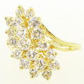 Spectacular Ladies 14K Yellow Gold Round Diamond Cluster Right Hand Ring