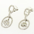 Spectacular Ladies 18K White Gold Round Diamond Cluster Dangling Earring Set