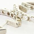 Dazzling Ladies 14K White Gold Round Diamond Hoop Huggie Earrings
