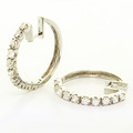 Dazzling Ladies 14K White Gold Round Diamond Hoop Huggie Earrings