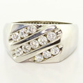 Glamorous Men's Vintage 14K White Gold Round Diamond Wedding Band Ring