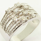 Dazzling Ladies 14K White Gold 1.00 Carat T.W. Round Diamond Four Row Ring