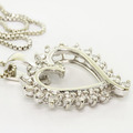 Elegant Ladies Vintage 10K White Gold Round Diamond Heart Pendant Necklace