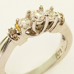 Dazzling Ladies 14K Two Tone Gold Round Three Diamond Engagement Ring