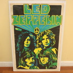 "Vintage Led Zeppelin Blacklight Poster 23""x35"" Dail Beeghley 49 Original 1969"