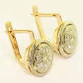 Stunning Ladies 14K Rose White Gold Diamond Russian Earrings Level Locks