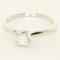 Beautiful Ladies 14K White Gold Princess Diamond Solitaire Engagement Ring