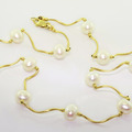 Elegant Ladies 14K Yellow Gold White Pearl Twisted Necklace