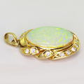Dazzling Ladies 14K Yellow Gold Opal Cubic Zirconia Drop Pendant
