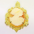 Spectacular Ladies Vintage 14K Yellow Gold Cameo Pendant Pin Combination