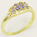 Dazzlign Ladies 10K Yellow Gold Synthetic Tanzanite Marquise Diamond Ring