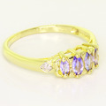 Dazzlign Ladies 10K Yellow Gold Synthetic Tanzanite Marquise Diamond Ring