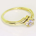 Dazzling Ladies 10K Yellow Gold Synthetic Tanzenite Pear Shaped Ring