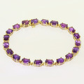 Stunning Ladies 10K Yellow Gold Amethyst Bracelet Earring Jewelry Set