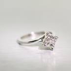 Beautiful Antique Edwardian 14k White Gold Illusion Diamond Solitaire Ring