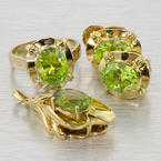 Estate 14k Yellow Gold Ring Earring Pendant Ring Peridot  Jewelry Set