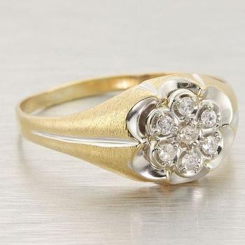 Ladies Estate 10k Yellow Gold Diamond Cluster Ring