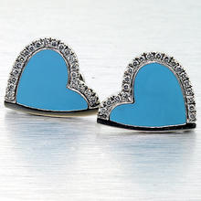 Roberto Coin Sterling Silver Heart Diamond Earrings