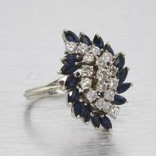 Sparkling Vintage Retro 14k White Gold Round Diamond Marquise Sapphire Ring