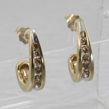 "Beautiful Vintage 10K Yellow Gold ""J"" Style Diamond Hoop Earrings"