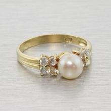 Fine 14k Gold Cultured Pearl & CZ Fashion Ring Jewelry