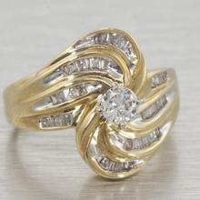 Fine Vintage Swirling Gold Diamond Engagement Ring