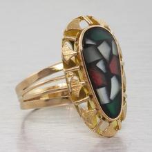 Antique Art Deco 14k Gold Mosaic Style Freeform Ring