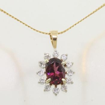 14k Gold Garnet & Diamond Vintage Pendant with Chain
