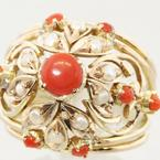Wonderful Ladies Antique Dome Coral & Pearl 14k Yellow Gold Vintage Estate Ring