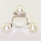 Vintage Estate Earrings Pearl Cubic Zirconia 14k Gold Ring