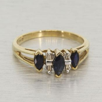 Vintage 10k Yellow Gold Sapphire & Diamond Fashion Ring