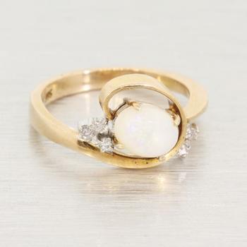 Swirling Yellow Gold Oval Shaped Opal & Diamond Ring